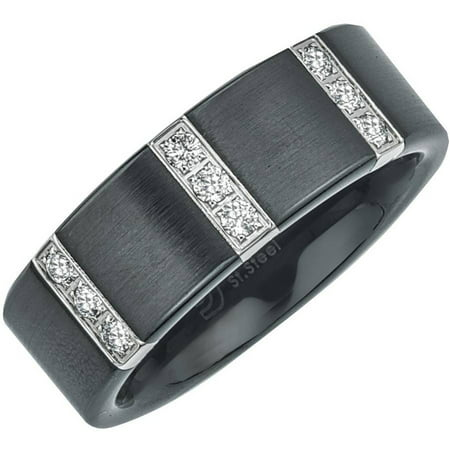 Men's 0.25 Carat T.W. Diamond Satin Black Ceramic Wedding Band (H-I I3)