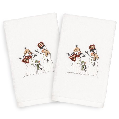 Linum Home Christmas Snow Family Embroidered Beige Turkish Cotton Hand Towels - Set of 2 (Family Set Towels)