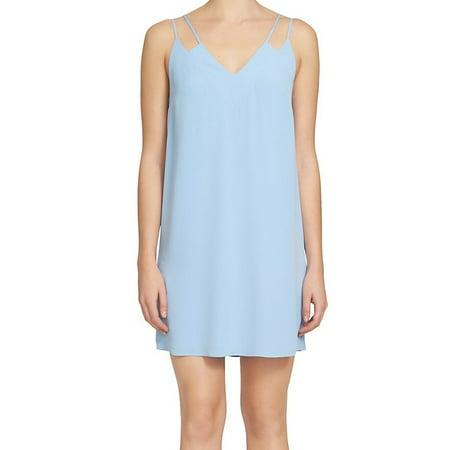 CeCe NEW Blue Pale Women Size 10 V-Neck Double-Strap Halter Shift Dress