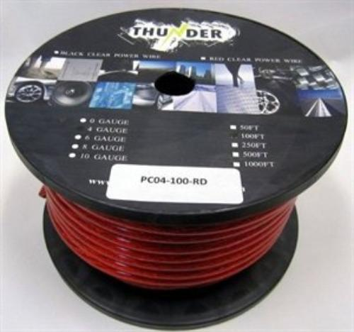 Avox PC04100RD Power Wire 4ga. 100ft. Red