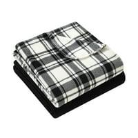 "Mainstays 2-Pack Plaid Fleece Throw Blankets, 50"" x 60"""