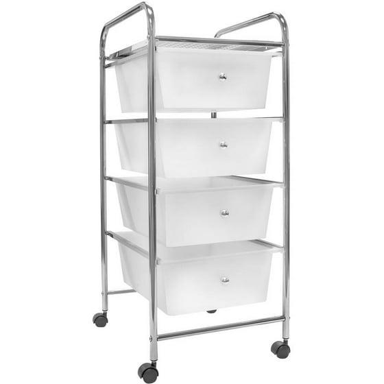 sorbus 4 drawer organizer rolling cart with storage bins on wheels white. Black Bedroom Furniture Sets. Home Design Ideas