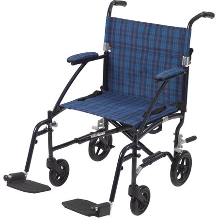 Drive Medical Fly Lite Ultra Lightweight Transport Wheelchair  Blue