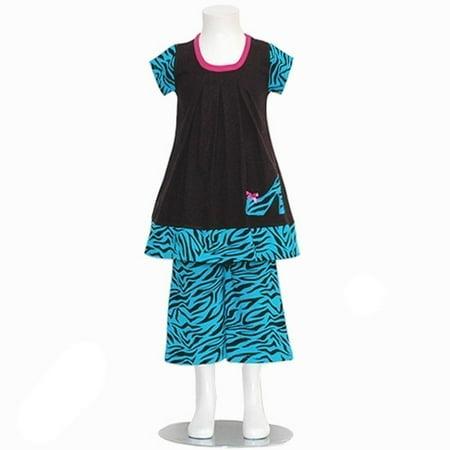 a5ffeb11bc41 Sophias Style Turquoise Zebra Print Pant Outfit Girl 6M-12M - Walmart.com