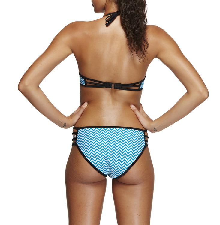 Women's Sexy Printed Contrast Trim Halter Strappy Bandeau Bikini Set Plus Size Two Piece Bathing Suit, 4 Patterns