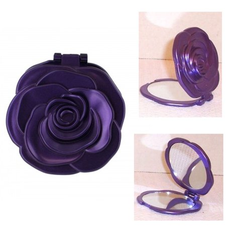 Rose Magnifiying Makeup Pocket Small Mirror Portable Women Cosmetic Purse (Lady Pocket Mirror)