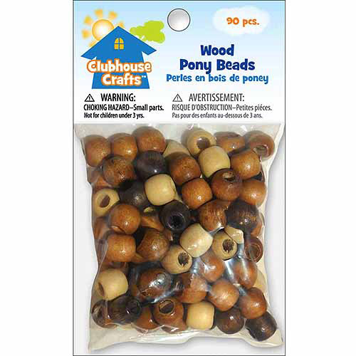 Clubhouse Crafts Wood Pony Beads, 90pk