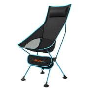 Chaise de camping portative à dossier haut avec appuie-tête, siège de chaise de plage pliable pour la pêche au barbecue, bleu