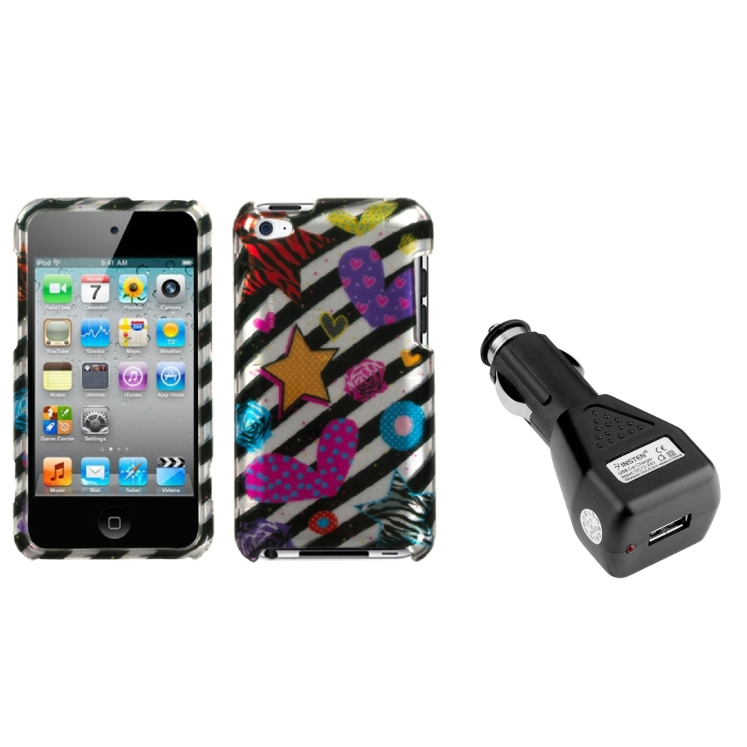 Insten Color Heart (2D Silver) Phone Case For iPod Touch 4 + USB Car Charger
