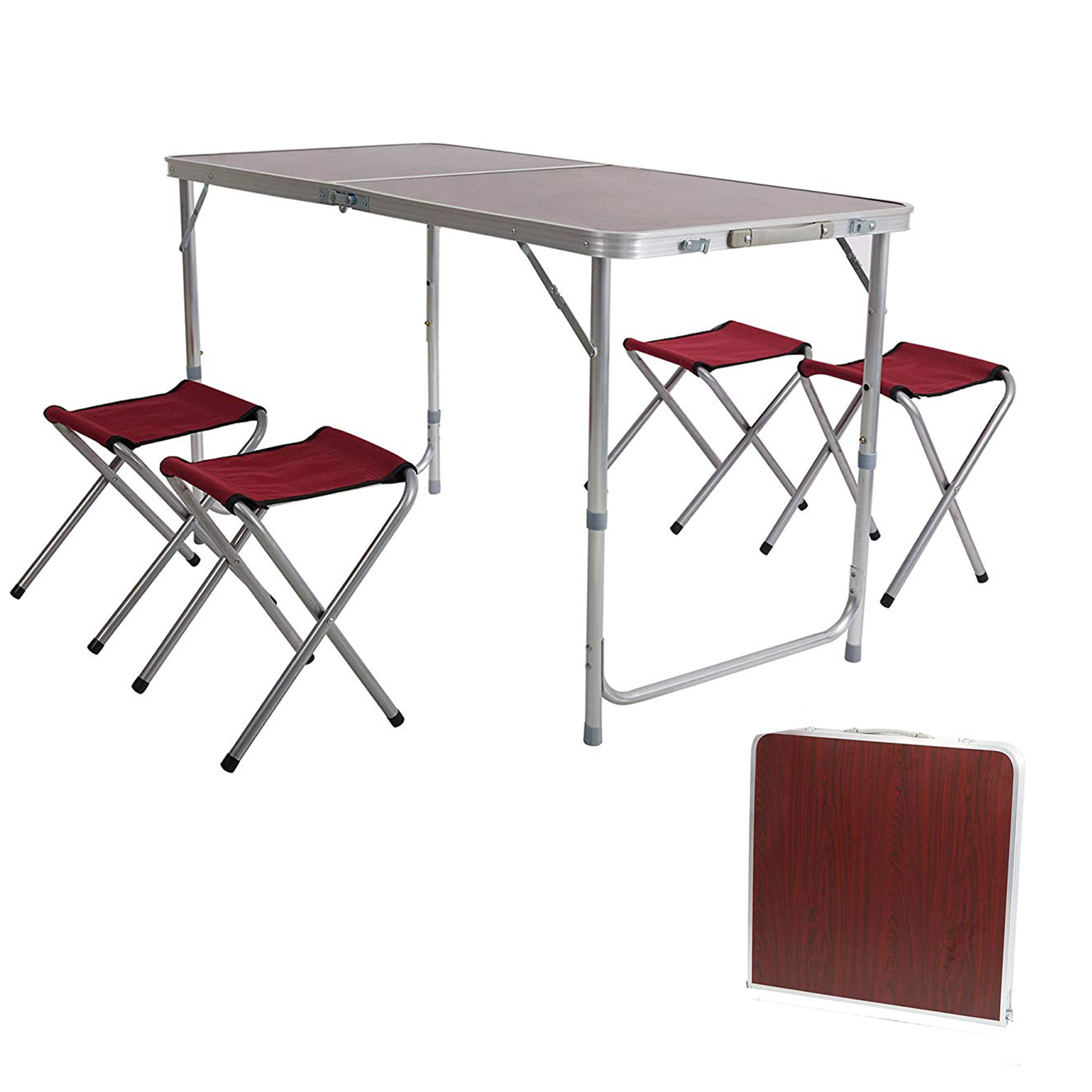 Karmasfar Product Outdoor Folding Camp Table Suitcase Lightweight Height Adjule Portable Foldable Picnic