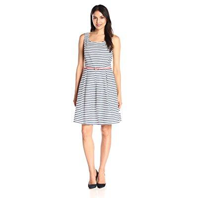 tiana b women's striped woven fit and flare dress cf/prin...