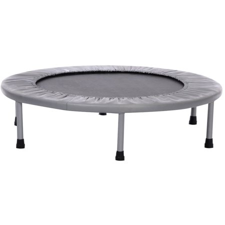 Sunny Health and Fitness 36  Trampoline Sunny Health and Fitness 36  Trampoline: The 36  foldable trampoline is the perfect size for indoor use and apartmentsWhether you intend to use the trampoline for fitness or play, it is sure to impressComes with durable heavy-gauge, 1  square, tubular, steel frame and heavy-duty steel springs6 detachable rubbers tipped steel legsHigh quality polypropylene jumping surfaceMeasures 36  diameter x 9 HWeight capacity: 220 lbsHigh quality polypropylene jumping surface with durable steel legs for maximum fitness trainingAssembled dimensions: 36 L x 36 W x 9 HModel# 062