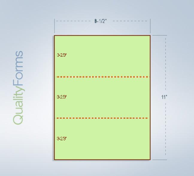 """8-1/2 x 11"""" 24# Green Paper 2 Horz. Perf. 3-2/3 & 7-1/3"""