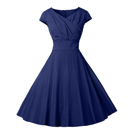 Women Ladies 50s 60s Retro Vintage Pinup Swing Evening Party Short Sleeve Swing Evening Party Coaktail Rockabilly Formal Gown Skater Retro Formal Lone Knee Midi Dress Navy Blue