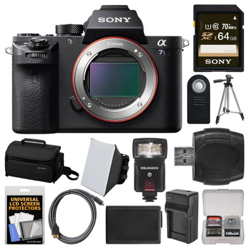Sony Alpha A7S II 4K Wi-Fi Digital Camera Body with 64GB Card + Case + Flash + Soft Box + Battery & Charger +... by Sony