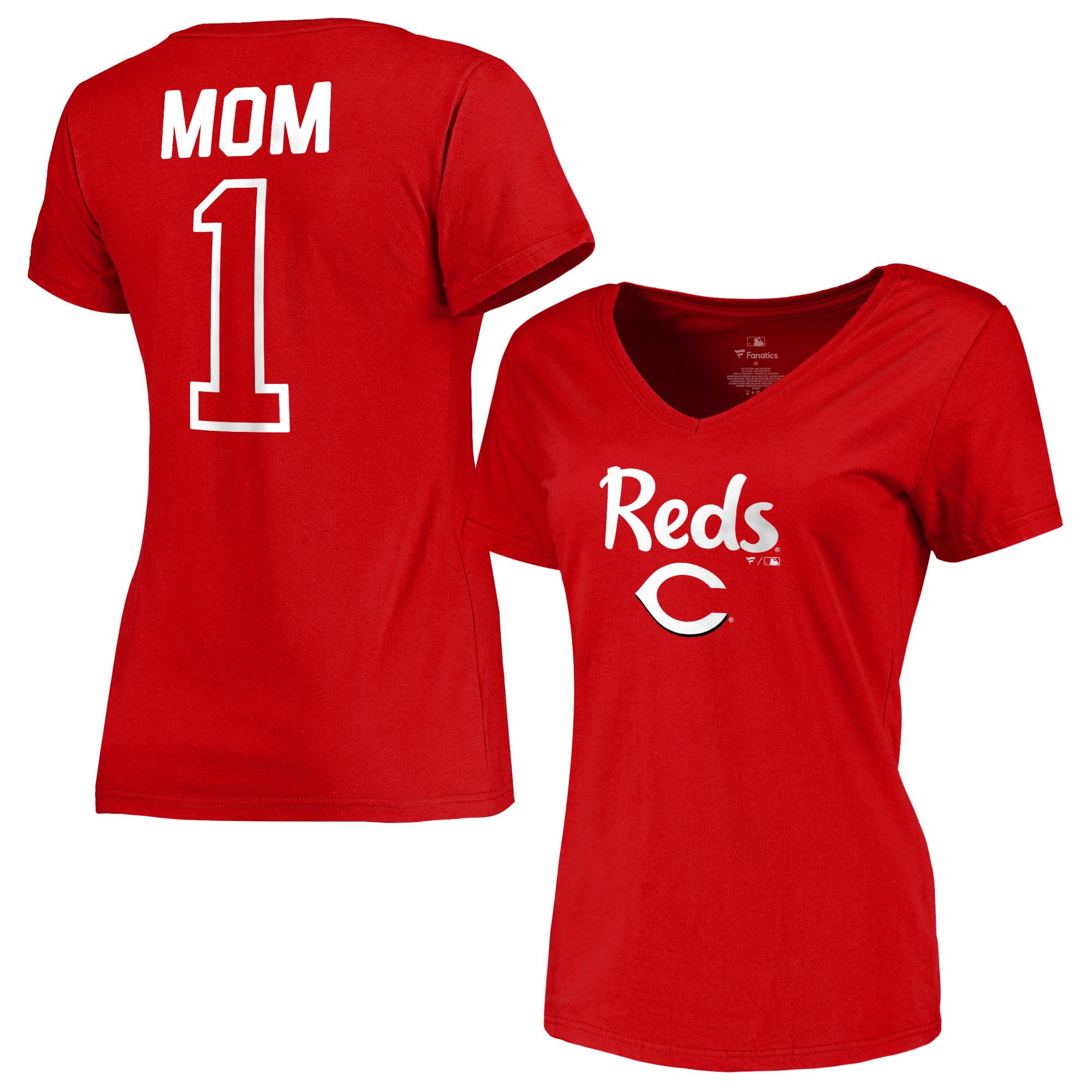 Cincinnati Reds Fanatics Branded Women's 2018 Mother's Day #1 Mom V-Neck T-Shirt - Red