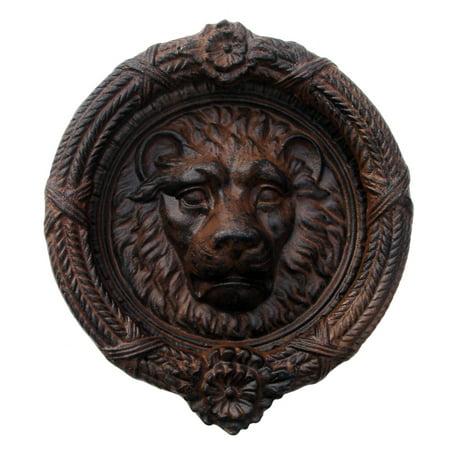 Cast Iron Antique Style Lion Head Door Knocker Large Rustic Home Decor ()