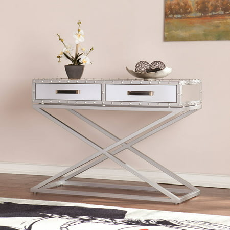 Manchester Industrial Mirrored Console Table Walmart Com