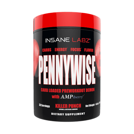 Insane Labz Pennywise Mass Gaining High Stimulant Pre Workout Powder, Energy Focus Strength Pumps, Loaded with Creatine 10g of Carbs Infinergy Caffeine fueled by AMPiberry, 30 Servings-Killer