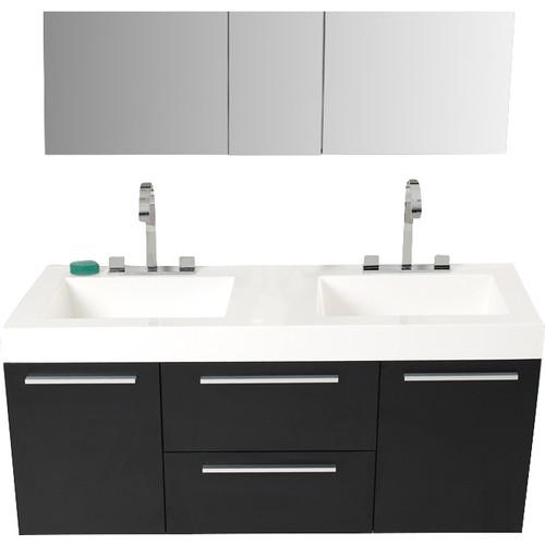 Fresca Senza 54'' Double Opulento Modern Bathroom Vanity Set with Mirror