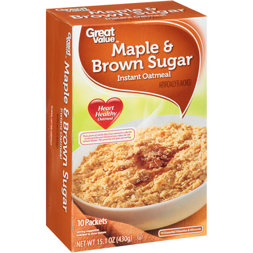 Great Value Maple & Brown Sugar Instant Oatmeal, 15.1 Oz