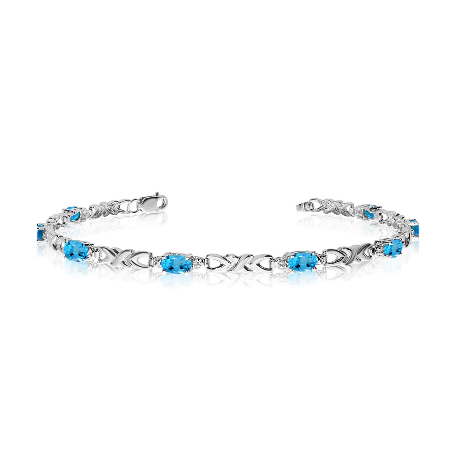 10K White Gold Oval Blue Topaz and Diamond Bracelet by