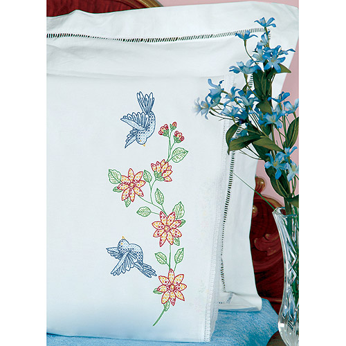 Jack Dempsey Birds Stamped Pillowcases With White Lace Edge