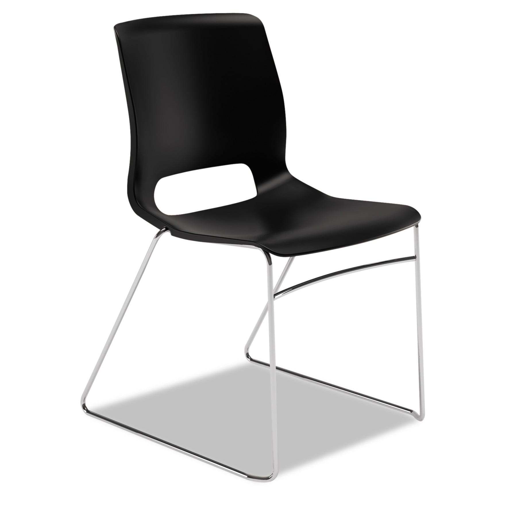 HON Motivate Seating High-Density Stacking Chair, Onyx/Chrome, 4/Carton