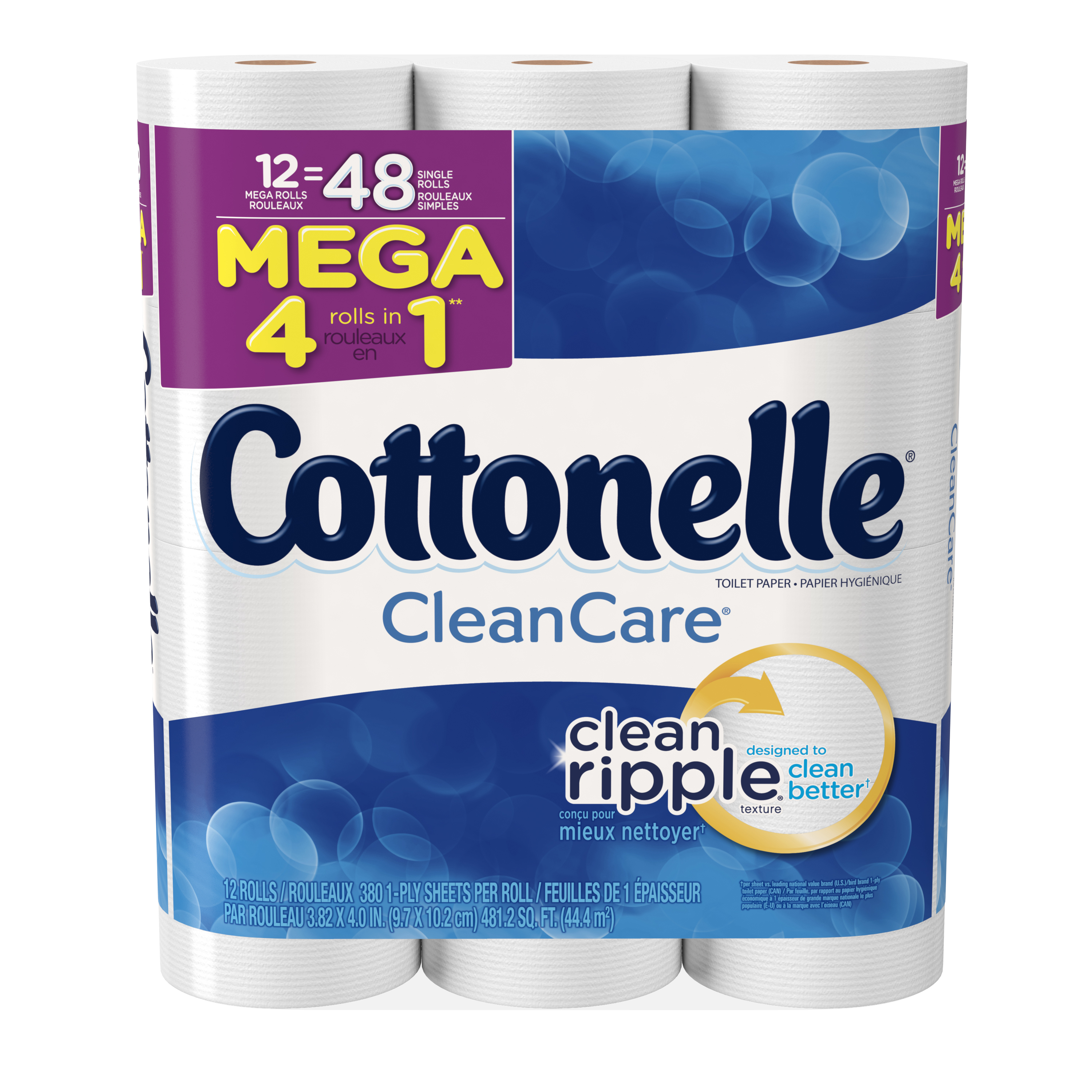 Cottonelle Clean Care Mega Roll Toilet Paper, 380 sheets, 12 rolls