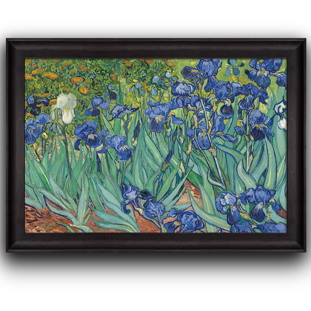 wall26 - Irises by Vincent Van Gogh - Oil Painting, Impressionist, Artist - Framed Art Prints, Home Decor - 16x24 inches