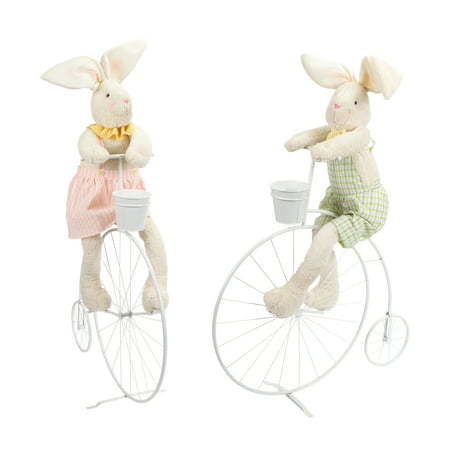 Couple Dress Up (Pack of 2 Pink and Green Easter Bunny Couple with Bike Decorations)