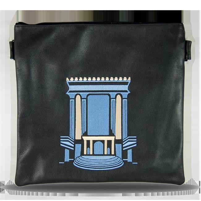 Prestige Embroidery 760-BL-LG Leather Tallis Bag with Light Blue Beis Hamikdash, Blue - Large Tallis
