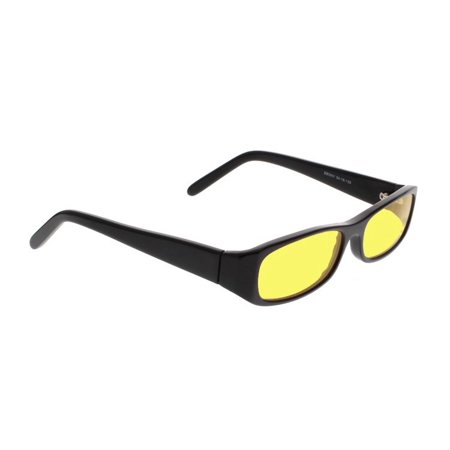 Night Driving Glasses With Canary Yellow Poly Double Sided Anti-Reflective Coating - Black Plastic Frame - (Anti Reflective Coating Sunglasses Worth It)