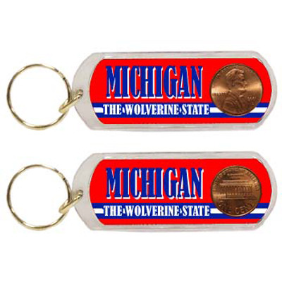 Ddi Michigan Keychain Lucite Lucky Penny (pack Of 96)