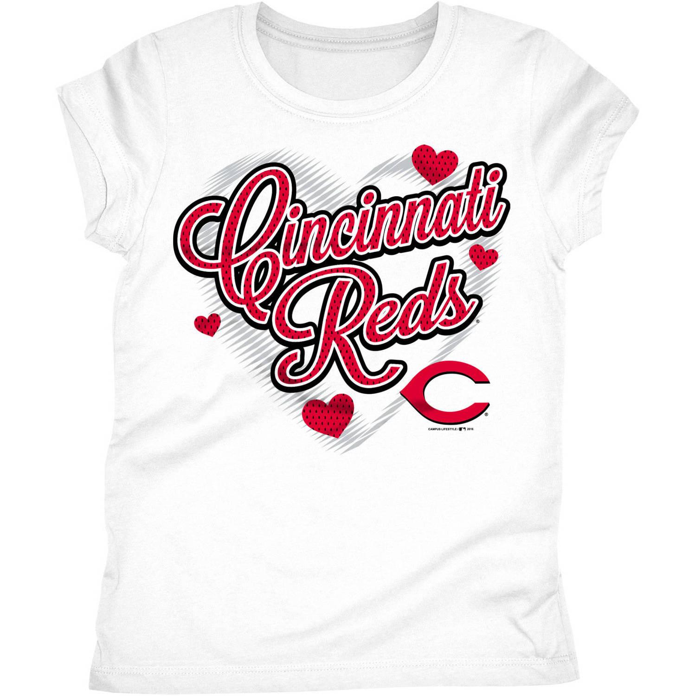 Cincinnati Reds Girls Short Sleeve Graphic Tee