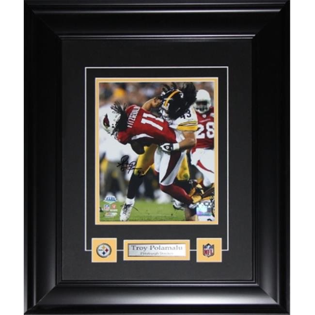 Midway Memorabilia polamalu_8x10_signed Troy Polamalu Pittsburgh Steelers Signed 8X10 Frame