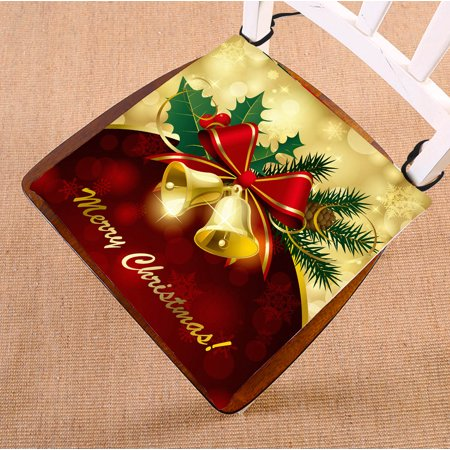 YKCG Christmas Bells Bow Red and Gold Seat Cushion Chair Cushion Floor Cushion Twin Sides 16x16 inches ()