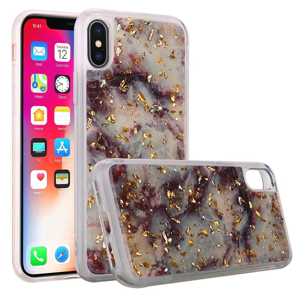 iPhone X Case, Shiny Marble Design Glitter Clear Bumper Matte TPU Soft Rubber Silicone Cover Phone Case for Apple iPhone X, iPhone 10 [2017] - Purple
