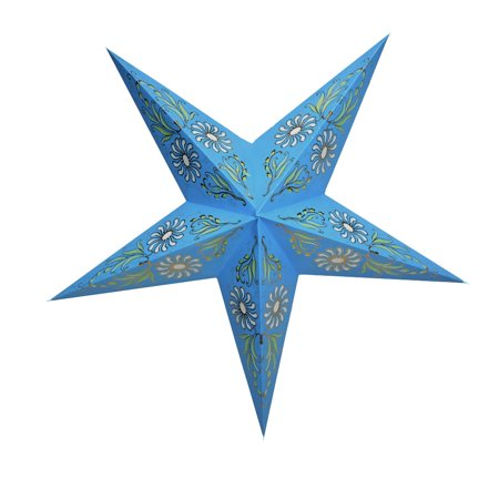 "Quasimoon 24"" Golden Daisy Turquoise Paper Star Lantern, Hanging Decoration by PaperLanternStore"