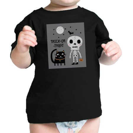Skeleton Black Cat Infant Graphic T-shirt Baby Halloween - Toddler Black Cat Costume Halloween