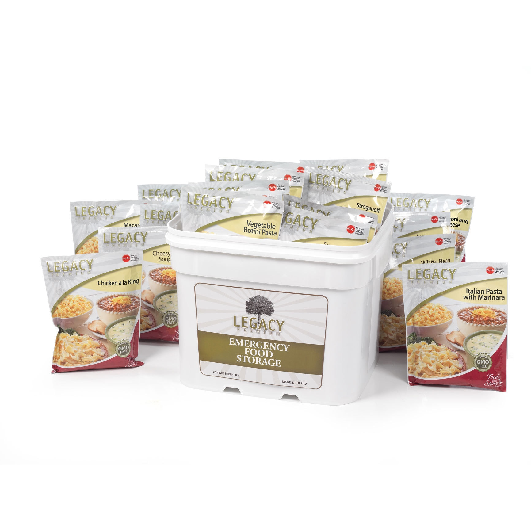 Legacy Premium Food Storage Long Term Dehydrated Food Storage - 120 Large Entree Servings - 29 Lbs- Disaster Prepper Freeze Dried Supply Kit - Individual Emergency Survival Meals