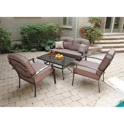 Mainstays Wentworth 4-Piece Patio Conversation Set, Seats 4