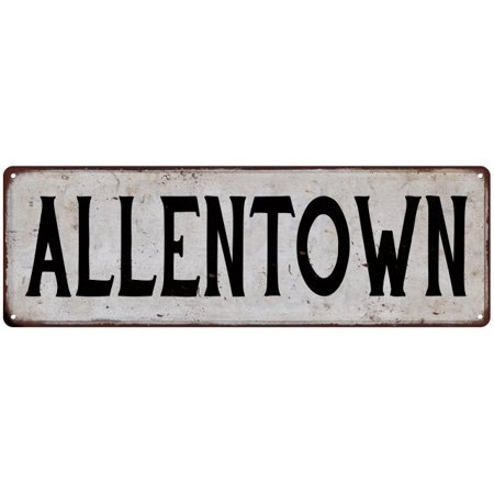 ALLENTOWN Vintage Look Rustic Metal City State Sign 6 x 18 High Gloss Metal 206180041217