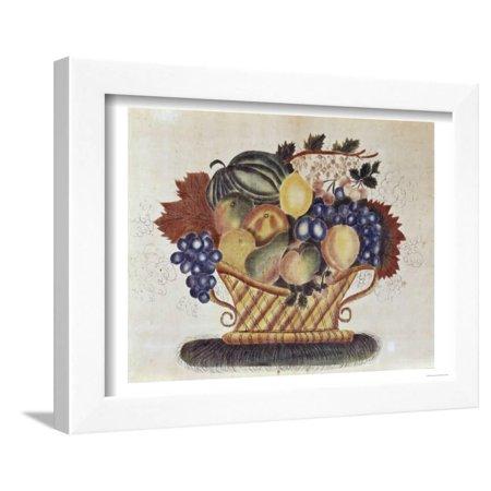 Fruit Filled Basket, Pennsylvania Dutch, 19th century Framed Print Wall Art
