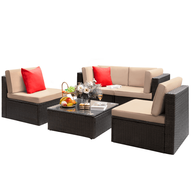 Walnew 5 Pieces Outdoor Patio Sectional Sofa Sets All-Weather Wicker Rattan Conversation Sets With Glass Table(Beige)