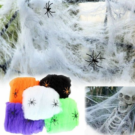 Scary Spiders For Halloween (Halloween Scary Party Scene Props White Stretchy Cobweb Spider Web Horror Decoration for Bar Haunted)