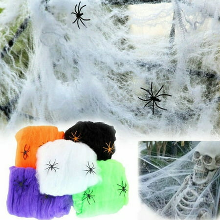 Halloween 5 Ending Scene (Halloween Scary Party Scene Props White Stretchy Cobweb Spider Web Horror Decoration for Bar Haunted)