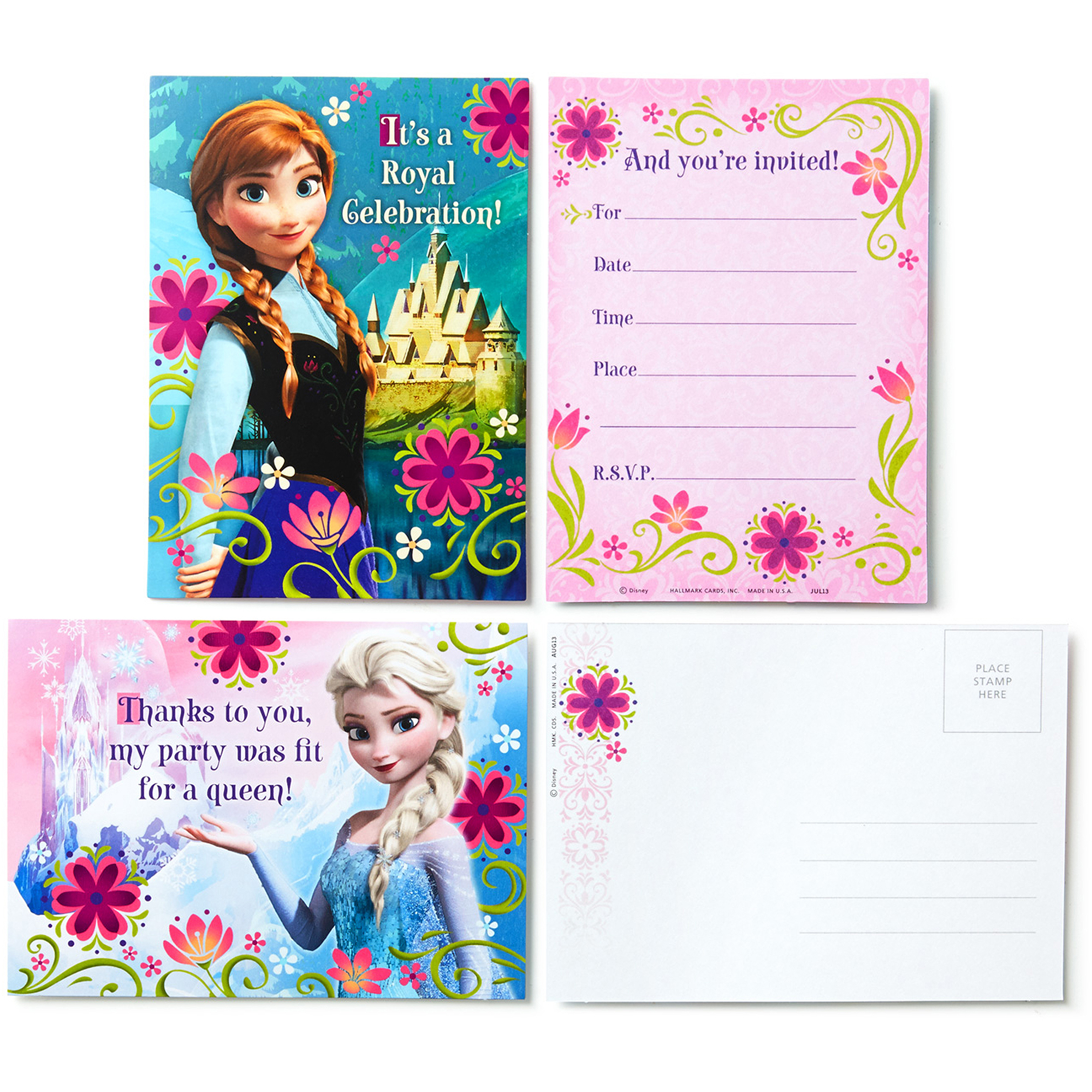 Hallmark Party Disney Frozen Invitations with Envelopes and Thank-You Postcards