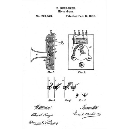 Early Recording Device The Berliner Microphone Patent