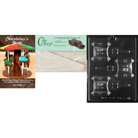 Mitzvah Chocolate (Cybrtrayd Bar Mitzvah Lolly Chocolate Candy Mold with 25 4.5-Inch Lollipop Sticks and Chocolatier's Guide)